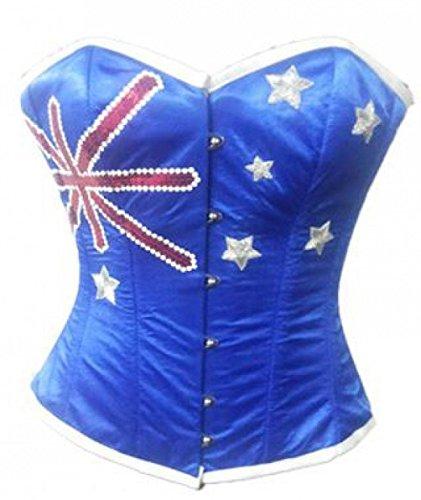 適切なアンドリューハリディ教義Blue Satin Australia Flag Sequins Burlesque Basque Waist Cincher Overbust Corset