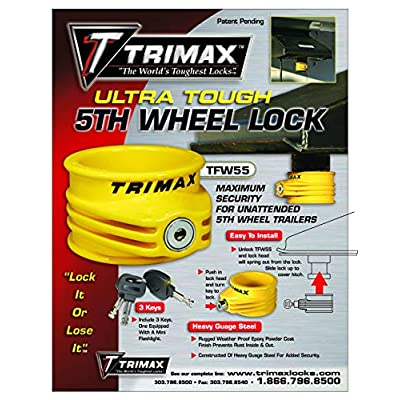 Trimax Ultra Tough 5Th Wheel Trailer Lock Rugged Powder Coat Finish in Bright Yellow TFW55, Blister Packaging: Automotive