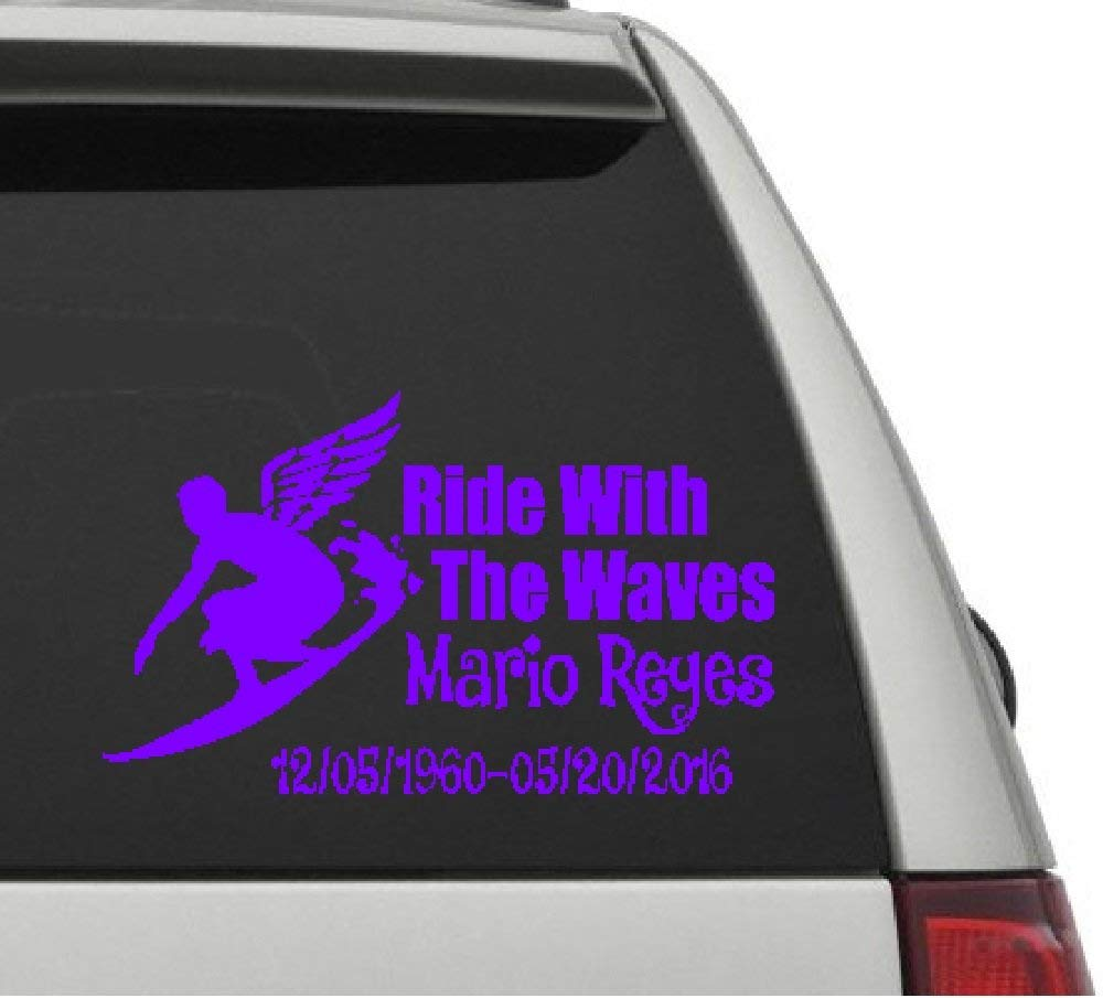 Surfing in memory of ride with the waves male figure vinyl car decal in memory of decal rip decals car decals surfing decals rip surfing decals