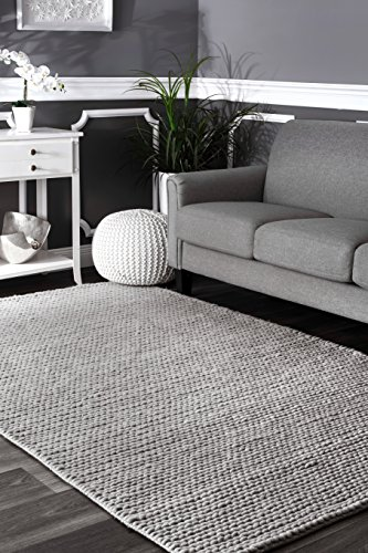 nuLOOM CB01D Hand Woven Chunky Woolen Cable Rug, 8' x 10' , Light Grey Hand Woven Wool Shag Rug