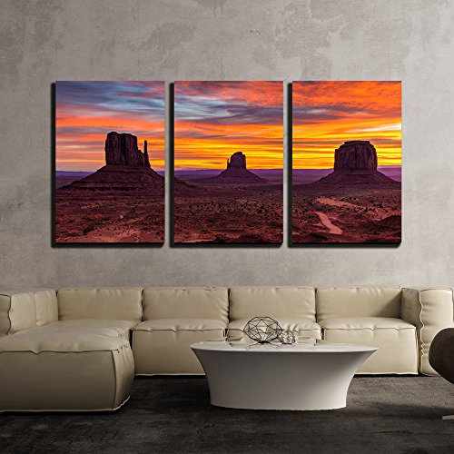 Monument Valley Sunset West and East Mittens and Merrick Butte Utah x3 Panels