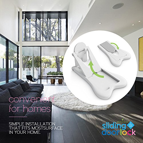 Sliding Door Lock for Child Safety - Baby Proof Doors & Closets. Childproof your Home with No Screws or Drills by Ashtonbee (Set of 2, White) by Ashtonbee (Image #3)