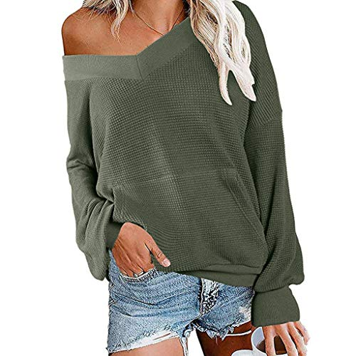 Spring color  Women's Simple Solid Color Shirt V Neck Long Sleeve Knit Top Blouse with Front Pocket Green -