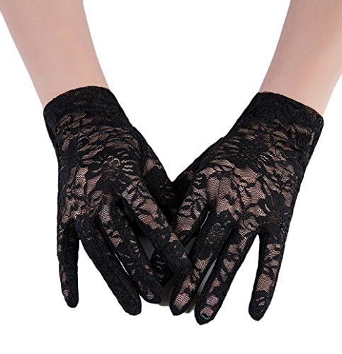 - M Bridal Women's Vintage Sheer Floral Lace Wrist Length Gloves for Wedding Party Brides Accessory G01 (Black Style B)