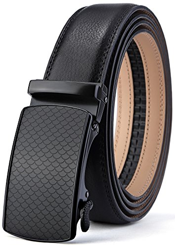 Short Belt - Men's Belt,Bulliant Genuine Leather Ratchet Belt for Men with Slide Buckle 1 3/8,Trim to Fit