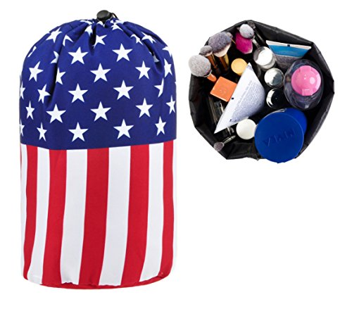 BAGOOE Printed Darwstring Quick Pack Travel Toiletries Cosmetics Makeup Storage Bag Pouch Bucket Shape, National Flag