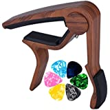 Muse Musical Wooden Color Guitar Capo for Acoustic Guitar,Electric Guitar,Bass,Ukulele(Rosewood Color)