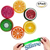 Magic Crystal Slime Putty Toy Soft Rubber Fruit Slime for Kids, Students,Birthday,Party Non-Toxic No Borax Gift Set Party Bundle,Goody Bag Filler 8CM Bigger Than Others - 6 Pack