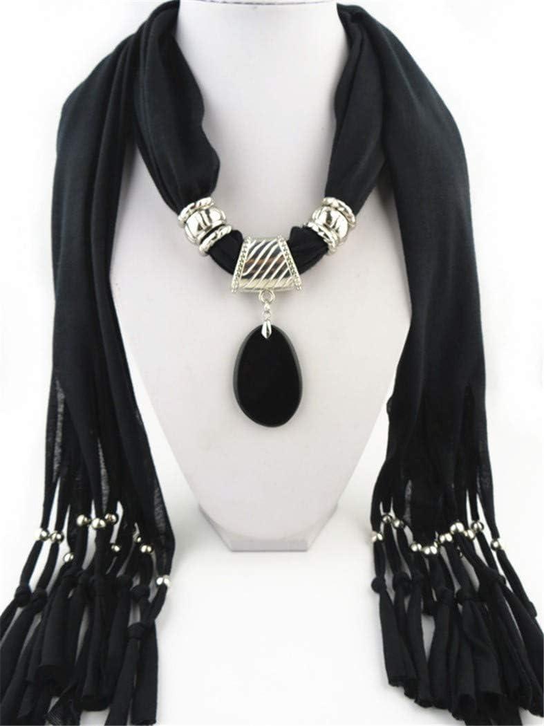 WDYBXYL La Mujer Bufanda Collar del Colgante De Piedra Preciosa Ágata Borla Bufandas