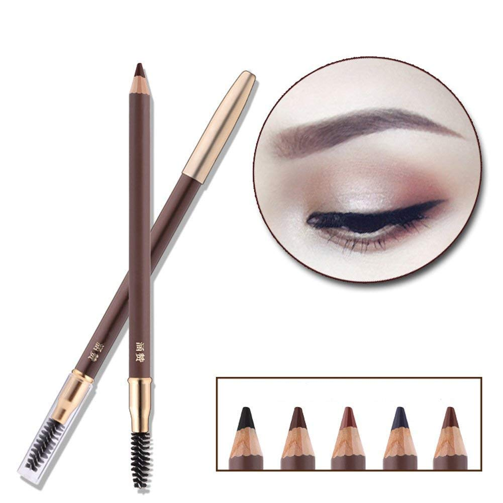 HanZan Eyebrow Pencil Longlasting Waterproof Durable Automaric Liner Eyebrow 5 Colors to Choose (2# Dark Brown)