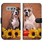 MSD Premium Designed S10e Flip Fabric Wallet Case Image ID: Brindle and Fawn American Staffordshire Terriers with Sunflowers and Pump 6