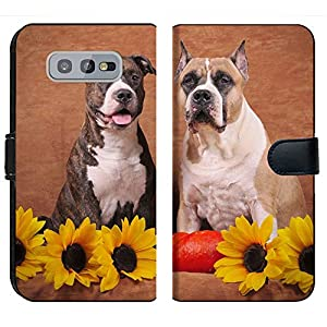 MSD Premium Designed S10e Flip Fabric Wallet Case Image ID: Brindle and Fawn American Staffordshire Terriers with Sunflowers and Pump 3