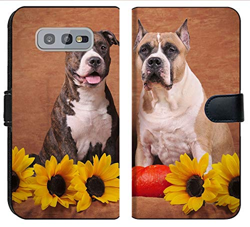 MSD Premium Designed S10e Flip Fabric Wallet Case Image ID: Brindle and Fawn American Staffordshire Terriers with Sunflowers and Pump 1