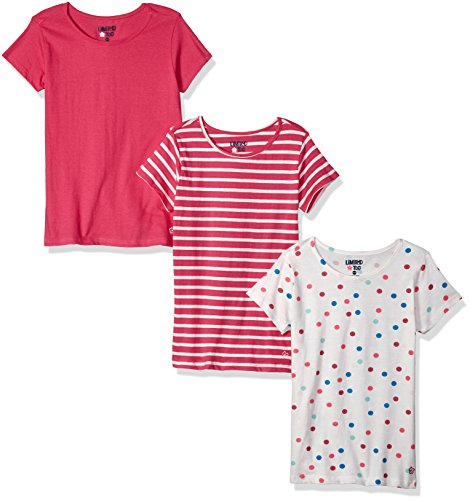 - Limited Too Girls' Toddler 3 Pack T-Shirt, Colored dots Stripes Fuchsia Multi Print, 2T