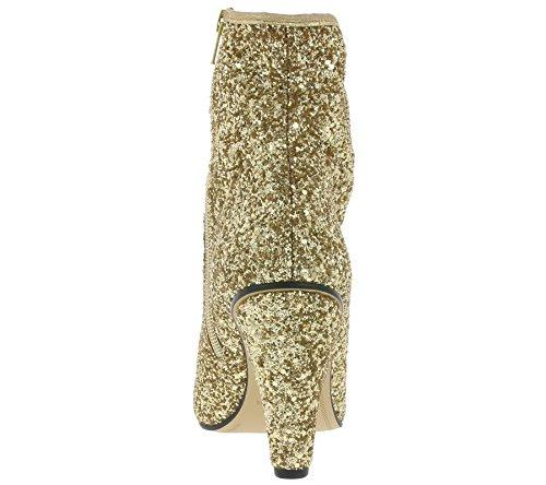 Buffalo Damen Stiefeletten BB 2014 Ankle Boots Booties Glitzer Glitter Gold