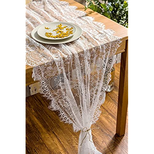 Vintage wedding reception decor amazon crisky 32 x 120 lace table runners for wedding lace overlay with rose vintage embroidered rustic wedding reception decor bridal shower decoration junglespirit Gallery
