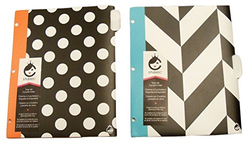 Carolina Pad Studio C Snap Tab Two Pocket Poly Folder ~ Hot to Trot 2 Pack (White Polka Dot of Black, Orange Edge; White and Black Chevron, Teal - Shiny C Black