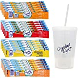 Crystal Light On The Go Drink Mix Variety, 20 Packets - 5 Each Citrus, Wild Strawberry, Lemonade & Peach Mango Caffeinated Water Flavor Packets with Exclusive Tumbler and Straw