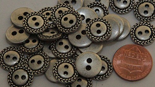 (12 Small Silver Tone Metal Buttons 1/2