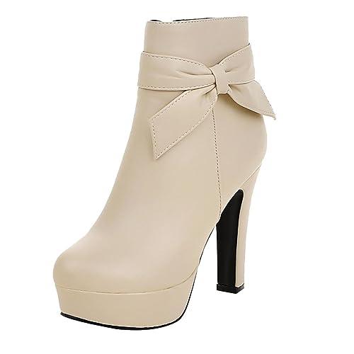 UH Femmes Bottines Chaussures à Talons Haut Bloc avec