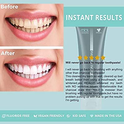 Activated Charcoal TEETH WHITENING Toothpaste,Organic,Fluoride Free, Vegan, Kid Safe, Sensitive Teeth, MADE IN USA, Better than White Strips Powders or Kits, Fresh Mint 4oz