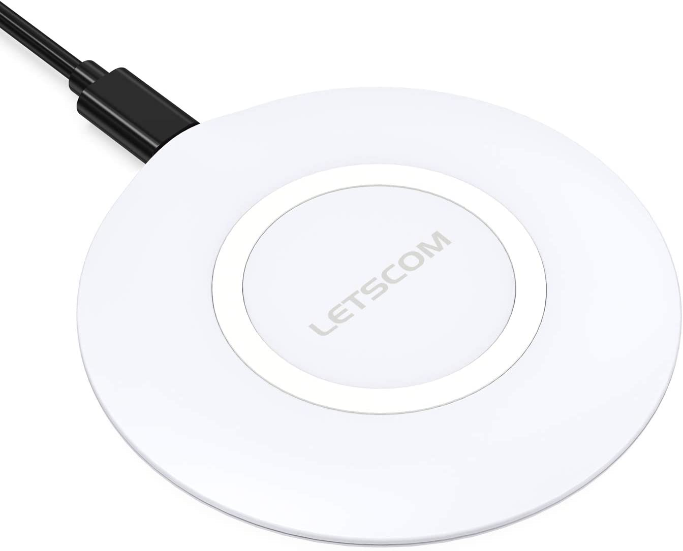 LETSCOM Ultra Slim Wireless Charger,Qi-Certified 15W Max Fast Wireless Charging Pad,Compatible with iPhone 11/11 Pro Max/XS Max/XR/XS/X/8/8+,Galaxy Note 10/Note 10+/S10/S10+/S10E (No AC Adapter)