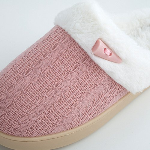 Btrada Womens Mens Fluffy Fur Lined Couple Slippers, Cute Buttons Cotton Slippers,Warm Cozy Slippers Pink