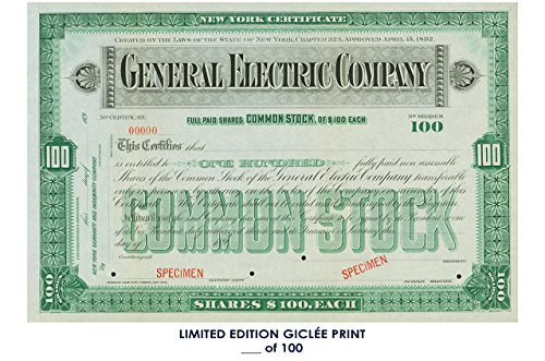 NERAL ELECTRIC COMPANY stock certificate 1892 REPRINT #'d/100!! 12x18 ()