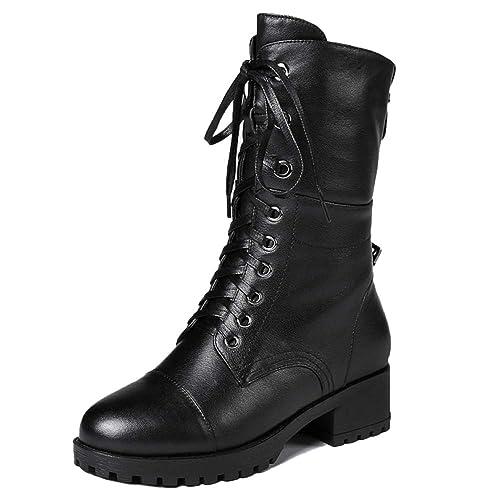 Botines para Mujer Botas Martin Botas De Tacón Plano con Cordones Combate Ejército Militar Espesar Botines Negros: Amazon.es: Zapatos y complementos