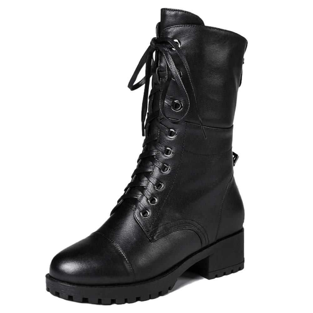 Damen Stiefelies Damen Martin Stiefel Flache Niedrige Ferse Lace Up Combat Army Militär Verdicken Schwarze Stiefeletten