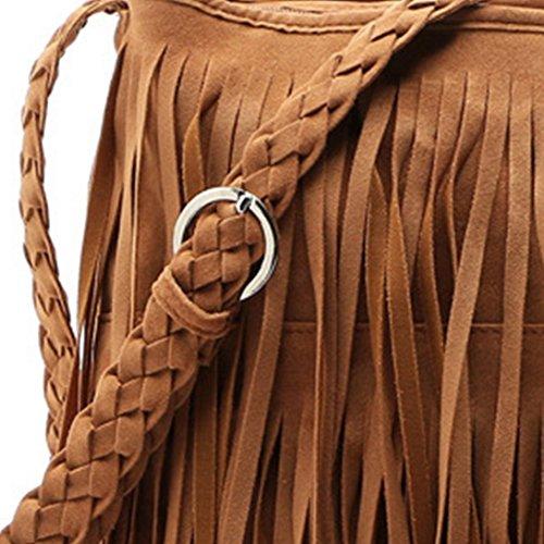 Aivtalk - Bolso de Estilo Retro de Bandolera con Flecos y Borlas para Mujeres-Marrón