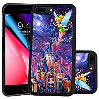DISNEY COLLECTION Tinkerbell at Cinderella Castle Design for Apple iPhone 7 Plus (2016)/iPhone 8 Plus (2017) 5.5-inch Case Soft TPU and PC Tired Case Retro Stylish Classic Cover