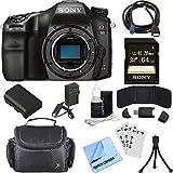 Sony ILCA68/B a68 A-Mount 24.2MP Digital Camera Body (Black) + 64GB Deluxe Accessory Bundle (Camera Body Starter Kit)
