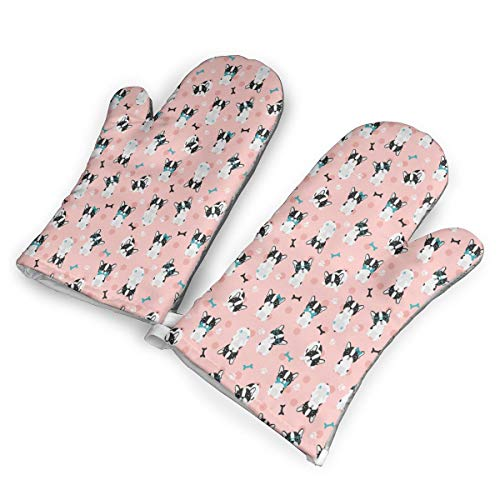(DRAMA QUEEN Oven Mitts Set Boston Terrier Pink Advanced Heat Resistant Microwave Non-Slip Oven Mitts for Cooking Baking)