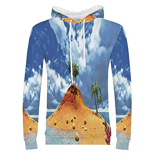 (Island Stylish Hoodie,Tropical Island and Palms Cloudy Flowers Stones Summer Sky Holiday Seascape Sweaters for Men & Boys,X Large)
