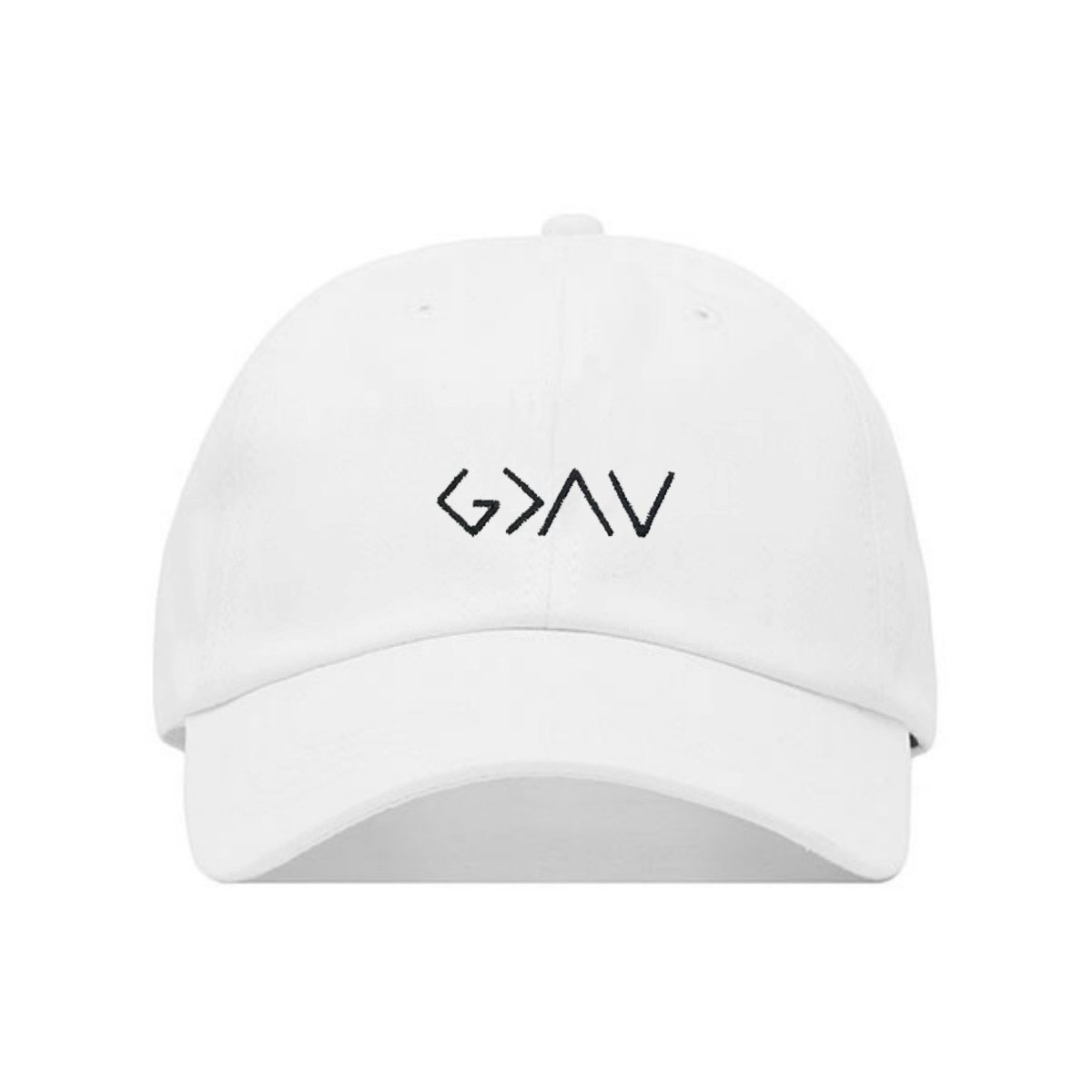 God is Greater Than The Highs and Lows Dad Hat, Embroidered Baseball Cap, 100% Cotton, Unstructured Adjustable Strap Back, 6 Panel, One Size Fits Most (Multiple Colors) (White)