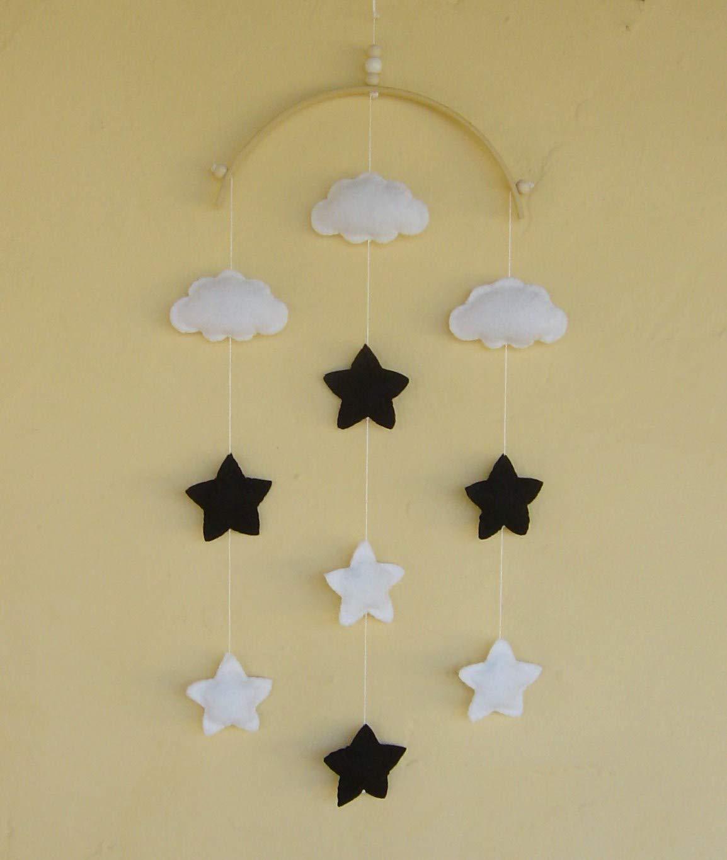 Monochrom Baby Mobile Wolke Sterne Schwarz Und Wei Ss