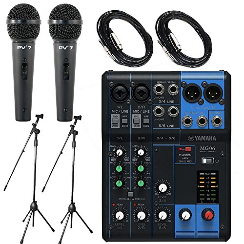 Price comparison product image Yamaha Package Bundle - Yamaha MG06 6-Channel Mixer +2x Peavey PV7 Dynamic Cardiod Microphones With Cables + 2x Microphone Stands