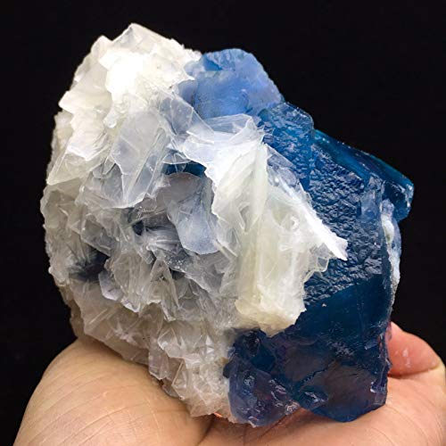 Museum Grade 3800ct 100mm Translucent Blue Cube Fluorite w/Large Delicate White Calcite Blades Crystal Cluster Natural Symbiosis Gemstone Rough Collectible Mineral Specimen - China