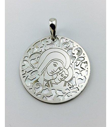 Médaille Vierge du chemin Nacre et Argent 35mm