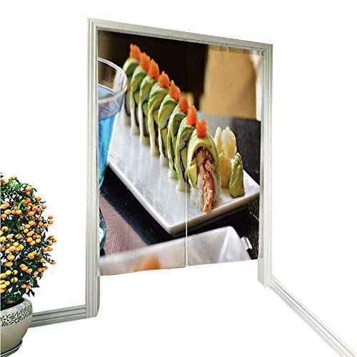 (TextileLIHome Noren Doorway Curtain Tapestrydragon roll Sushi roll American Style Shrimp Tempura Cucumber Home Decoration Tapestry for 36