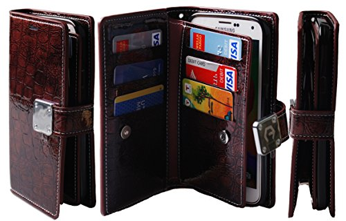 [Dual Wallet] [6 Card Slot,3 Bill Slot] [Wristlet] PU Leather TPU Bumper Clutch Case [Drop Protection] For Samsung Galaxy S4 E300 (Shine Wine)