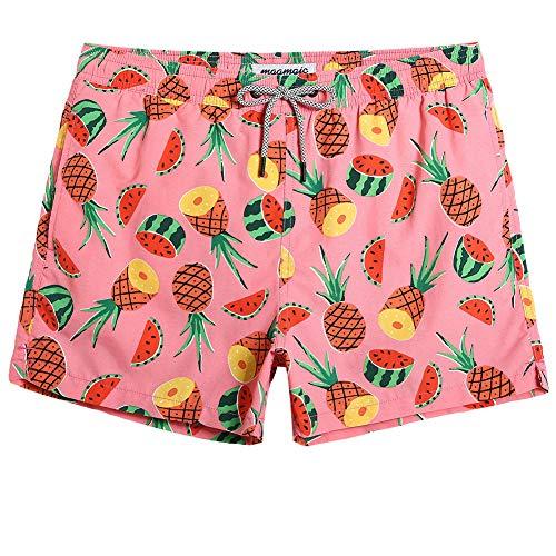 MaaMgic Mens Boys Short Pineapple Watermelon Swim Trunks with Mesh Lining Quick Dry Mens Bathing Suits Swimsuits Swim Shorts, -