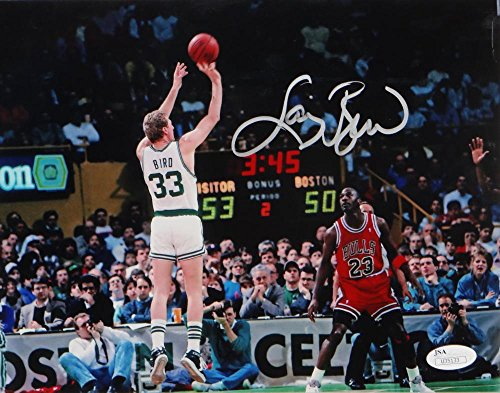 Larry Bird Autographed Celtics 8x10 vs Michael Jordan- JSA Auth ()