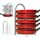 corner kitchen cabinet solutions WiseLife Height Adjustable Pan Pot Organizer Rack, 5-Tier Stainless Steel,10 11 & 12 Inch Heavy Duty Kitchenware Cookware Pot Rack Holder Kitchen Cabinet Countertop Storage Solution