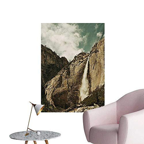 Anzhutwelve Yosemite Photographic Wallpaper Waterfalls in Yosemite National Park California Famous Travel DestinationBrown Reseda Green W32 xL36 Wall Poster