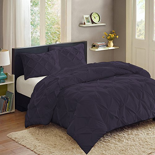 For Sale! Sweet Home Collection 3 Piece PP Luxury Pinch Pleat Pintuck Fashion Duvet Set,Eggplant,K...