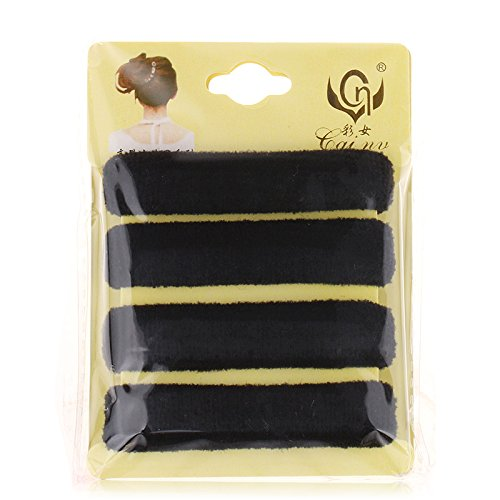 Thick Seamless Durable Long-Lasting Elastic Hair Ties by Acorn Days, Pack of 4, Thick Black