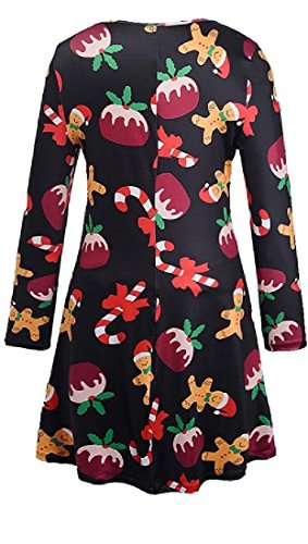 Neck Cartoon Coolred Christmas Printed Party Round Holiday Women 2 Dress tfTqfY