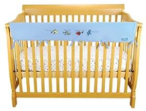 """CribWrap Crib Wrap 3PC Rail Cover Bundle By Trend Lab - 1- 51"""" Front Rail Cover & 2- 27"""" Side Rail Covers Bundle, Dr Seuss One Fish Two Fish Blue"""